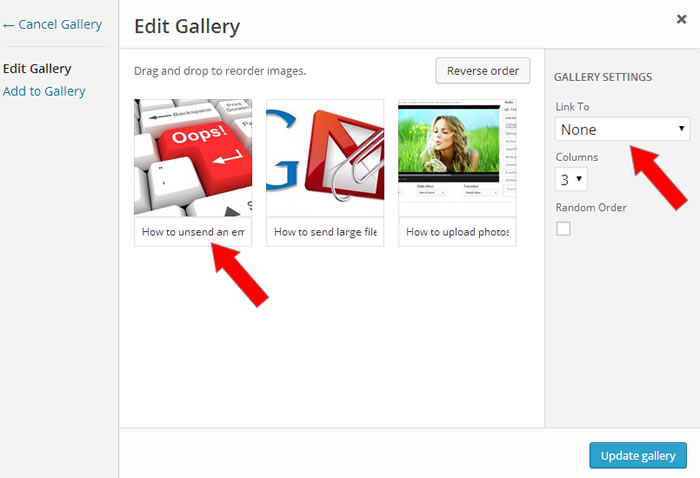 Wordpress image gallery settings